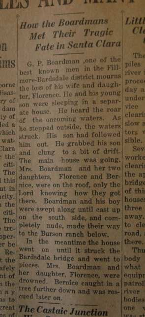 From the Fillmore American, Thursday, March 15, 1928, page 4. Survivors of the St. Francis Dam disaster.