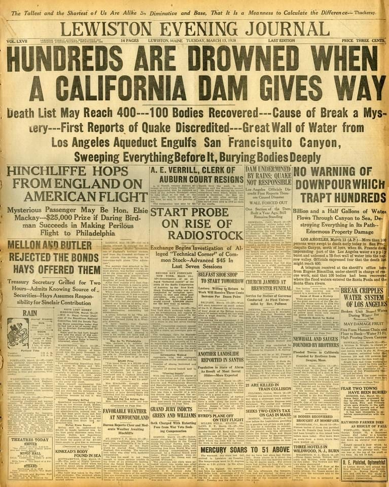 US Forest Service announces timetable for the management plan for the St Francis Dam Disaster National Memorial. Newspaper from Lewiston, Maine reported on the disaster on March 14, 1928.