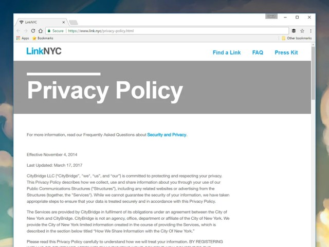 The privacy policy for a public Wi-Fi network.