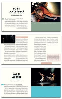 """Book lay-out for Footsteps of modern choreography – 37 ways to dance"""" by Hannele Jyrkkä. Published by LIKE Kustannus 2012"""