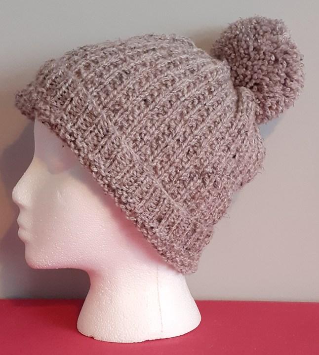 Beige Handknitted Bobble Hat