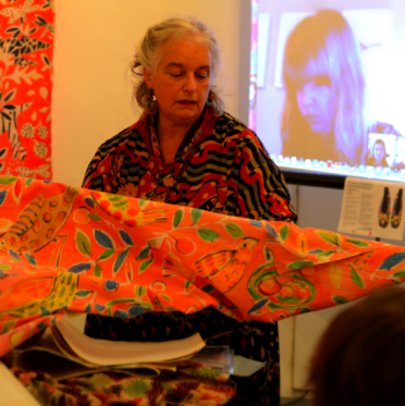 Sarah Campbell prepares her presentation to the Slow Textiles Group, 2013