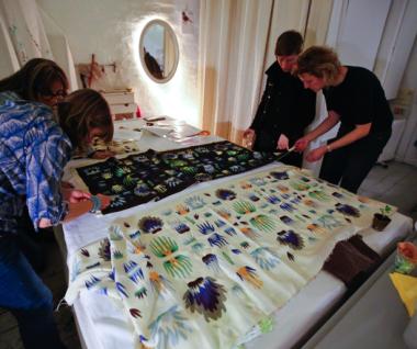 Emma Neuberg, Zea Katzeff, Nicola Cliffe and Egle Vaituleviciute at Textiles Hub London
