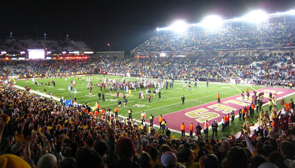 fans at the BC Eagles game at Boston College Alumni Stadium