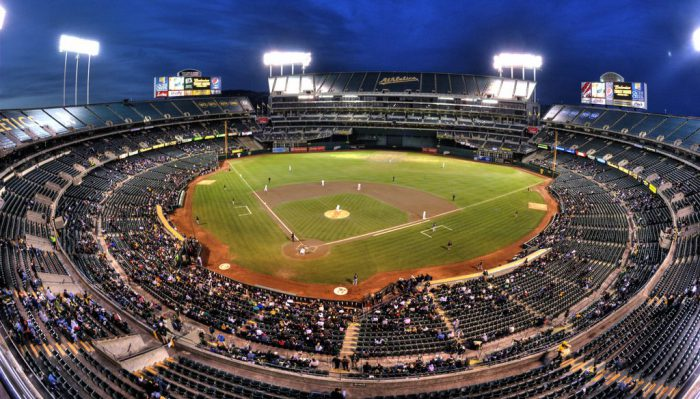 wide angle view of Oakland Athletics ballpark