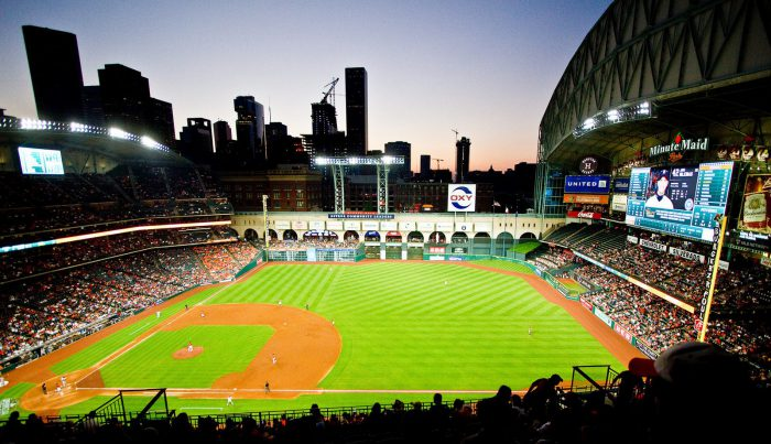 Minute Maid Park roof rolled back