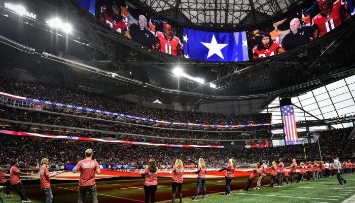 Atlanta Falcons salute to service at Mercedes Benz Stadium