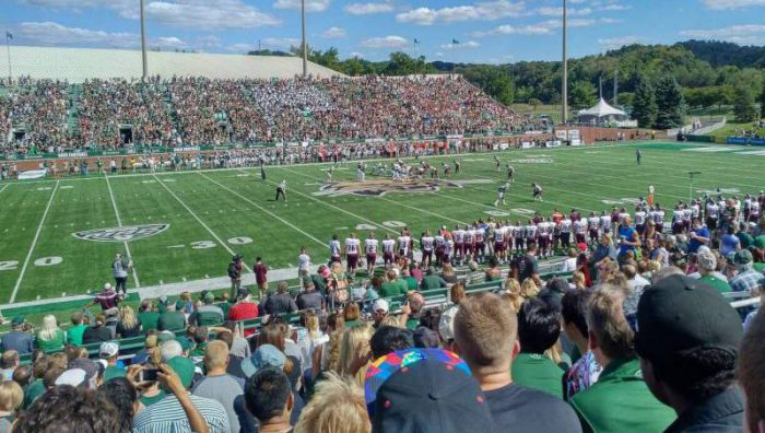 Ohio Bobcats fans at football game in Peden Stadium