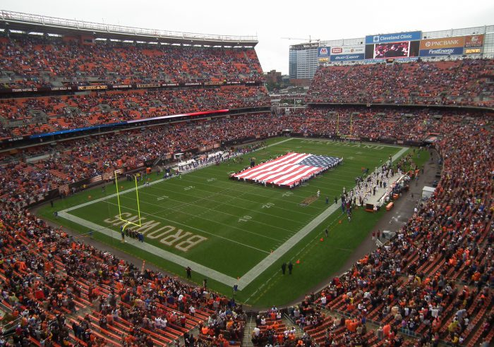 US flag at a Cleveland Browns game in FirstEnergy Stadium