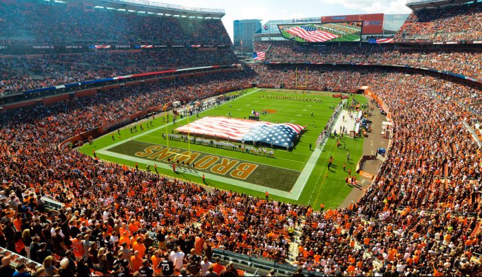 Cleveland Browns game at FirstEnergy Stadium US flag