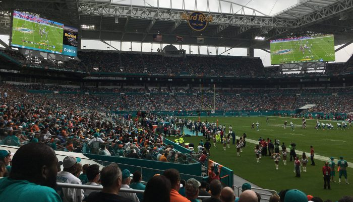 big screens at Miami Dolphins game in Hard Rock Stadium