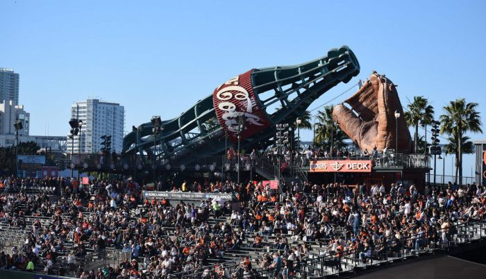 Oracle Park giant coke bottle and glove