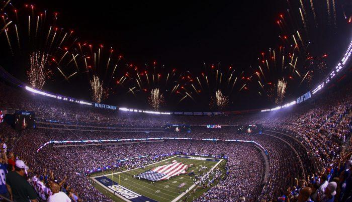 firework display US flag at New York Giants game in MetLife Stadium