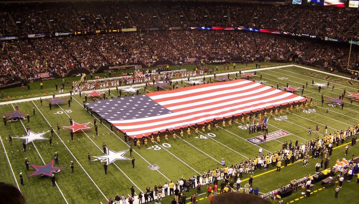 United States flag at New Orleans Saints game in Mercedes Benz Superdome