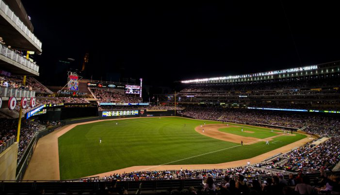 Target Field ballpark at night time