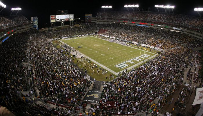 South Florida Bulls football fans at Raymond James Stadium