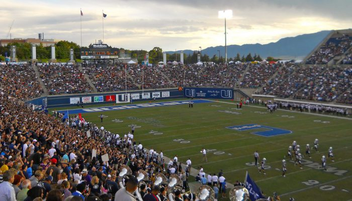 Utah State Aggies football fans at Maverik Stadium