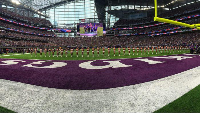 Minnesota Vikings fans at US Bank Stadium cheerleaders