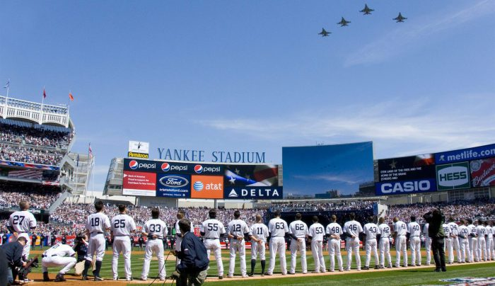 New York Yankees players jets fly over opening day