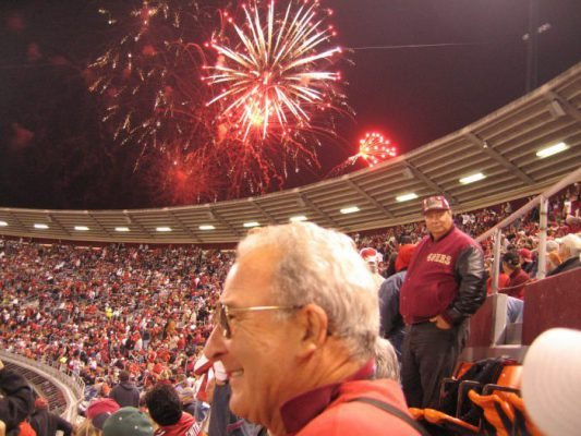 fans cheering at the San Francisco 49ers game