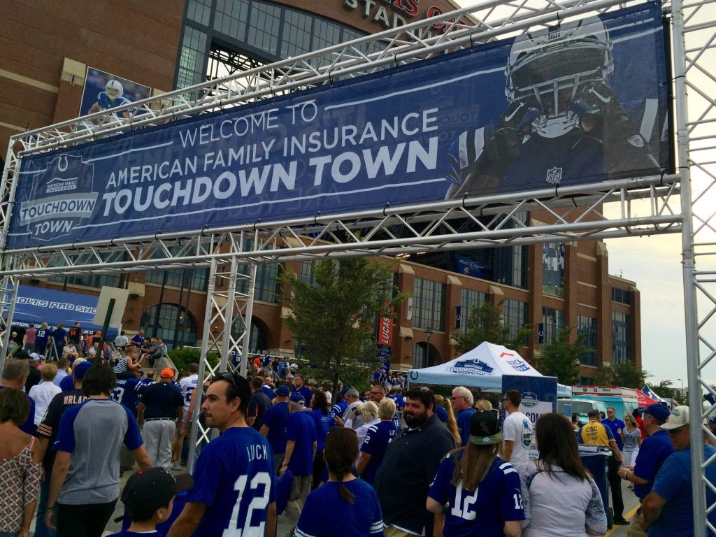 Indianapolis Colts fans tailgating in Lucas Oil Stadium
