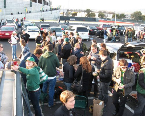 tailgate party at Oakland Alameda County Coliseum parking lot