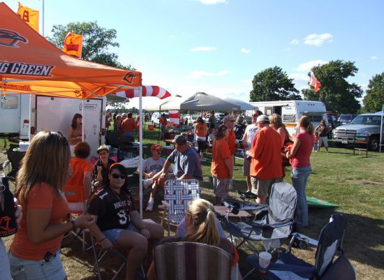 BGSU Falcons fans tailgating at tailgate lot on football gameday