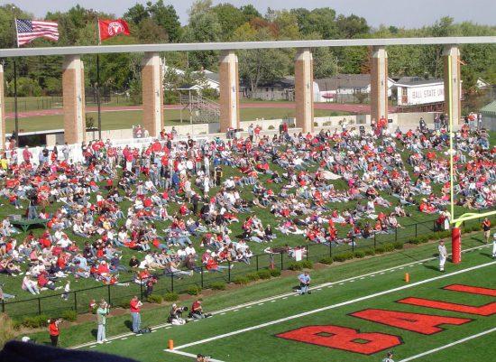 Ball State Cardinals fans watching the football game in Scheumann Stadium