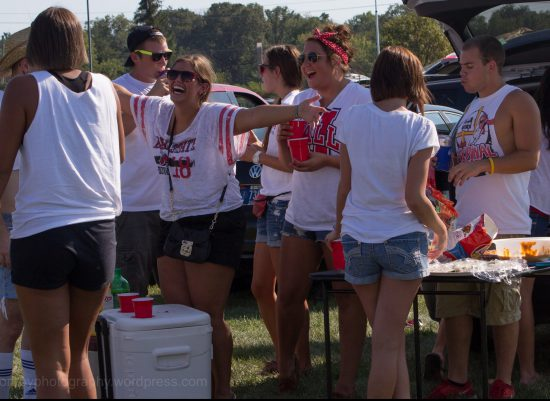 Ball State Cardinals fans tailgating on football gameday