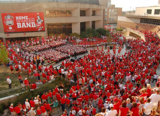 Wisconsin Badgers band on football gameday