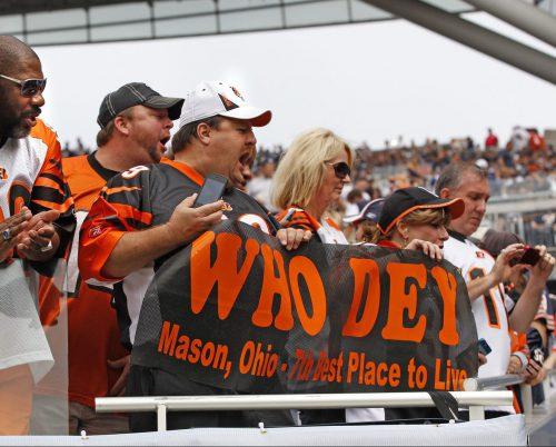 who dey fans cheering at Cincinnati Bengals game