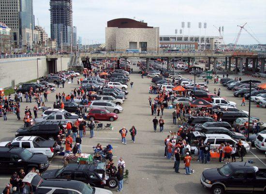 Cincinnati Bengals tailgating at parking lot outside Paul Brown Stadium
