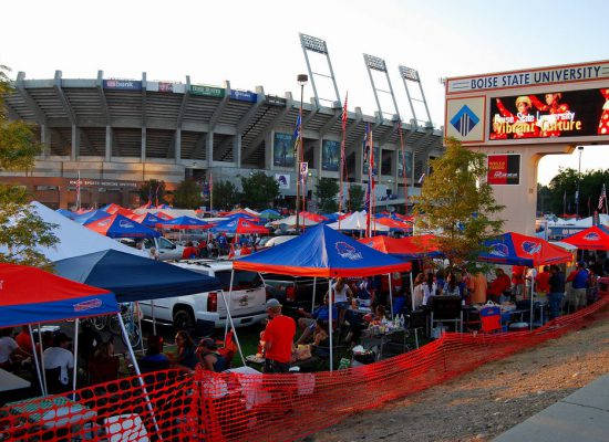 Boise State Broncos football fans tailgating on gameday