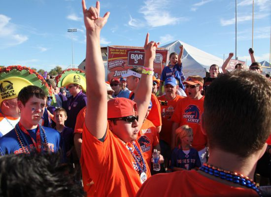 Boise State Broncos fans tailgating on football gameday