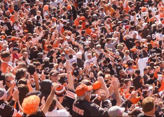 fans at a Cleveland Browns game