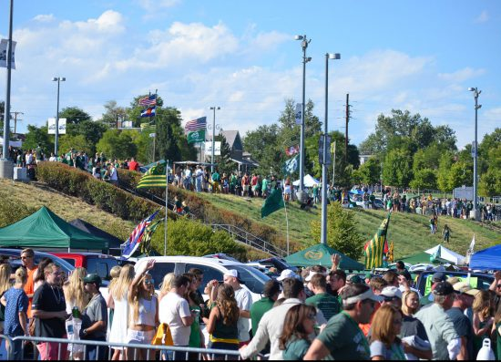 Colorado State Rams football fans on tailgate lot