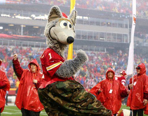 Kansas City Chiefs mascot KC Wolf entertains the fans