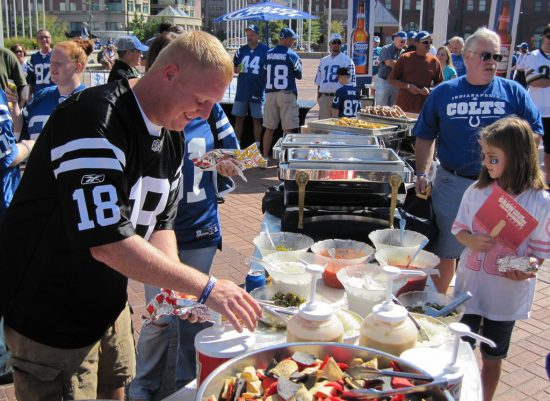 tailgaters and tailgate food at Indianapolis Colts game