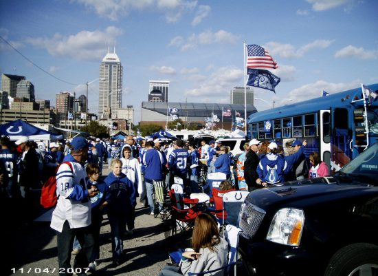 Indianapolis Colts fans tailgating at Lucas Oil Stadium
