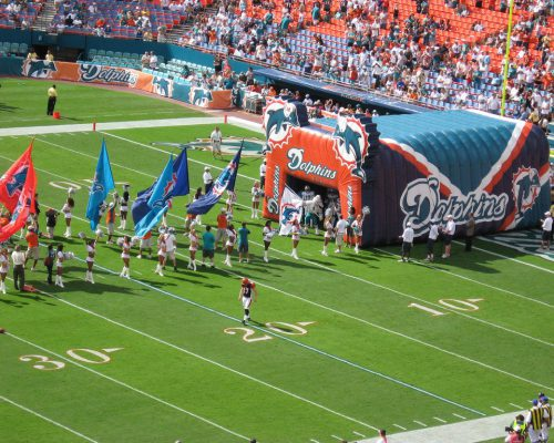 Miami Dolphins players entrance cheerleaders flags