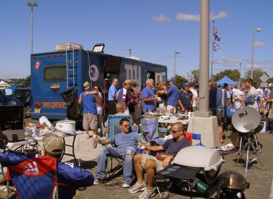 tailgaters at New York Giants game at tailgate lot outside MetLife Stadium