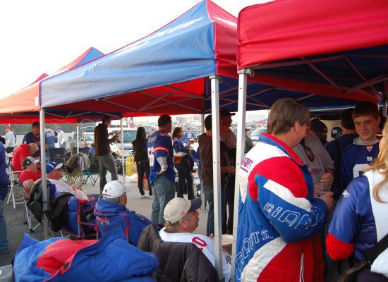 New York Giants fans at tailgate lot