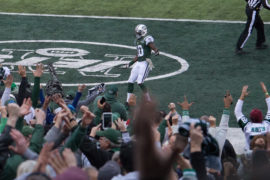 New York Jets cheering at player in MetLife Stadium