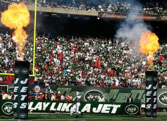 fans and fire display at New York Jets game in MetLife Stadium