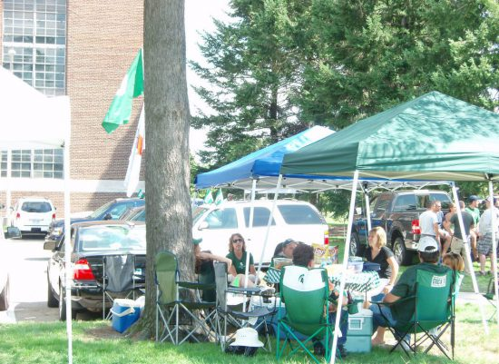 MSU Spartans fans at tailgate lot