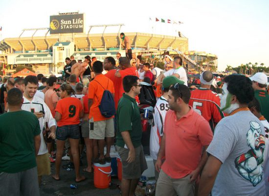 Miami Hurricanes fans tailgate party outside stadium