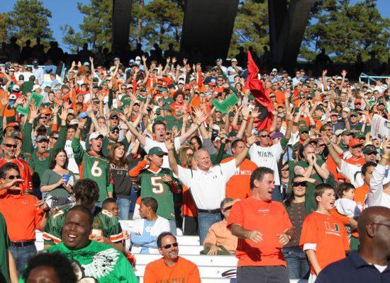 Miami Hurricanes fans cheering