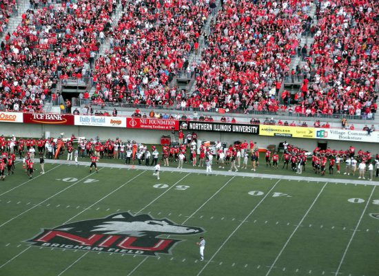 NIU Huskies fans at the football game