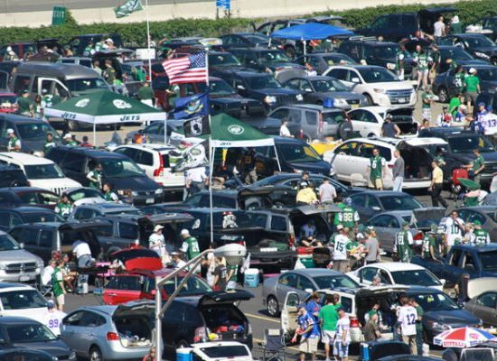 New York Jets fans tailgating at lot