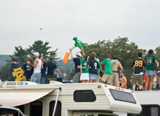 Notre Dame Fighting Irish fans at RV tailgate